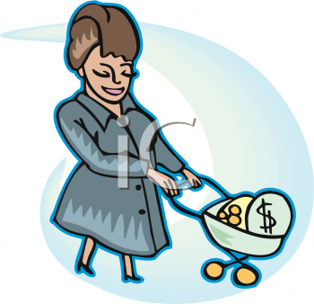 rich lady with cart full of money royalty free clip art picture rh clipartguide com