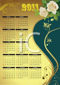 2011 Calendar with Roses and Gold Floral Accents