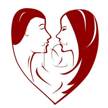 Couple Silhouetted in a Heart - Royalty Free Clipart Picture