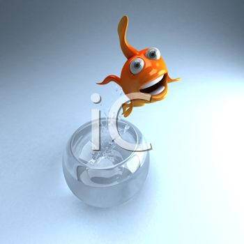 3D Goldfish Jumping Out of His Bowl