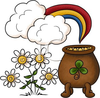 Cartoon Pot of Gold at the End of the Rainbow with Daisies