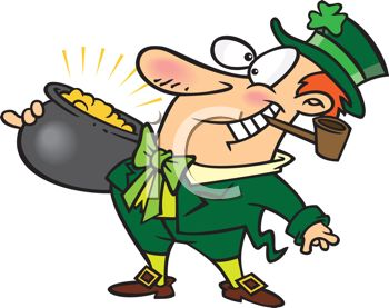 Happy Leprechaun Holding a Pot of Gold Smoking a Pipe