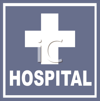 Hospital Sign with a Cross