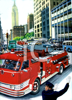Realistic City Scene of a Firetruck and a Policeman Directing Traffic