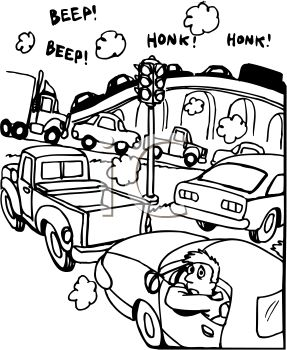 Black and White Cartoon of a Traffic Jam