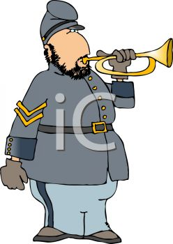 Cartoon of a Confederate Soldier Blowing a Bugle
