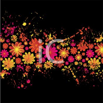 Pretty Pink and Yellow Floral Design on a Black Background