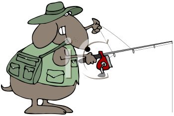 Cartoon of a Dog Fly Fishing - Royalty Free Clip Art Picture