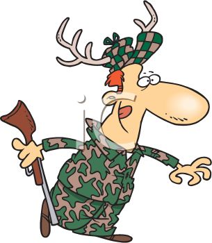 Cartoon of a Hunter Camouflaged with Antlers in His Hat