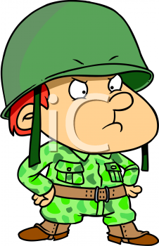 Cartoon of a Little Boy Playing Soldier