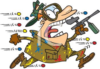royalty free clip art image cartoon of a man at a paintball competition rh clipartguide com paintball clip art pictures paintball splat clip art