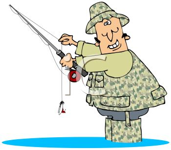 Cartoon of a Fly Fisherman Wearing Camos