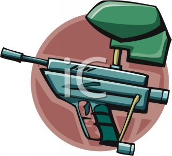 Royalty free clipart image: self loading paintball gun