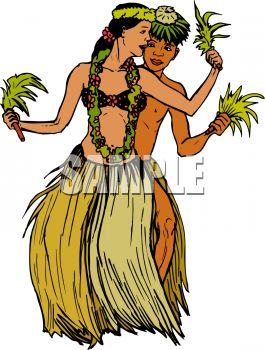 Male and Female Hawaiian Dancers