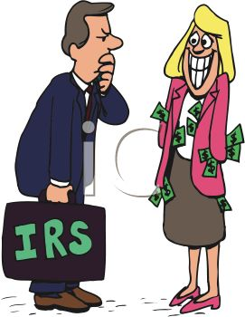 Suspicious Tax Auditor with a Woman Hiding Money