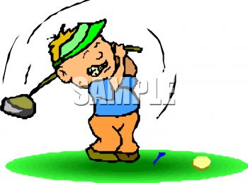 Cartoon of a Golfer Missing the Ball