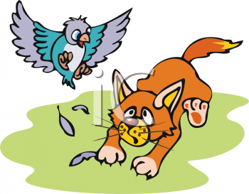 Cartoon of a Cat Trying to Catch a Bird