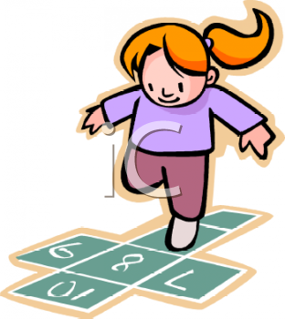 Cartoon of a Little Red Haired Girl Playing Hopscotch