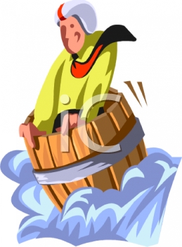 Man Going Down a Waterfall in a Barrel