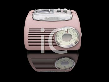 Retro Pink Bakelite Radio On a Black Background with Reflection