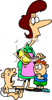 Cartoon of a Stressed Out Mom