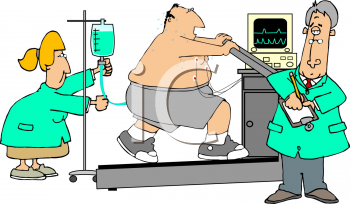 Cartoon of an Overweight Patient Doing a Treadmill Test