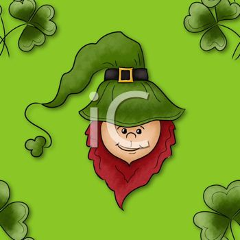 Cute Leprechaun Face on a St Patrick's Day Background