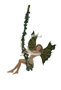 Woodland Faerie Swinging on a Vine Swing