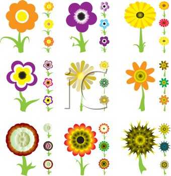 Collection of Cute Flower Icons - Royalty Free Clip Art PictureReal Flower Icons