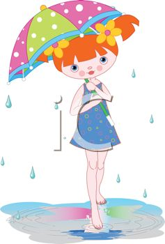 Cute Cartoon of a Barefoot Girl Standing in the Rain