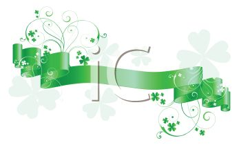 Green Ribbon Banner with Shamrocks and Swirls