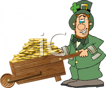 Leprechaun Pushing a Wheelbarrow Filled with Gold Coins