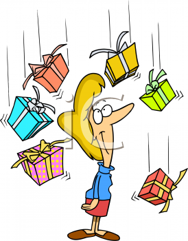Woman Being Showered with Gifts