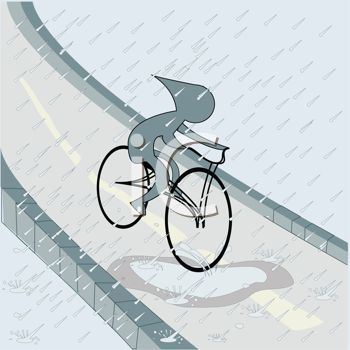 Kid Riding A Bike In The Rain Royalty Free Clipart Picture