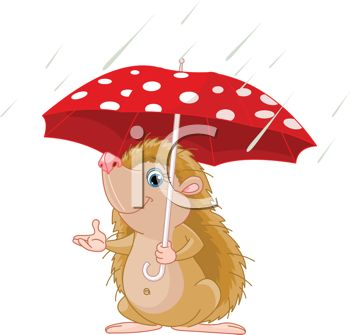 Hedgehog Under an Umbrella in the Rain