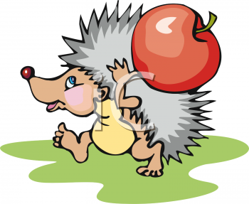 Cartoon Hedgehog Carrying a Large Apple