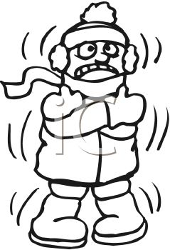 Boy shivering from the cold royalty free clipart image for Cold weather coloring pages