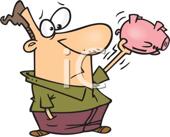Cartoon of a Man Shaking an Empty Piggy Bank