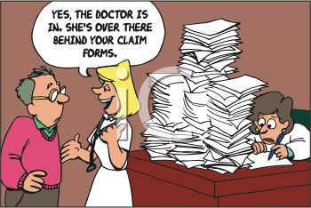 Doctor Buried Behind a Mountain of Paperwork