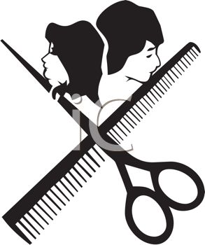 Hair Stylist Icon With Scissors And A Comb Royalty Free Clipart Image