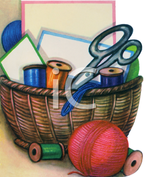 Sewing Basket with Thread and Scissors