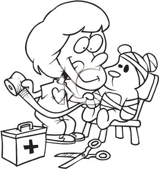 Black and White Cartoon of a Little Girl Playing Doctor with Her Teddy