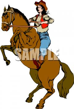 Cowgirl on a Rearing Horse