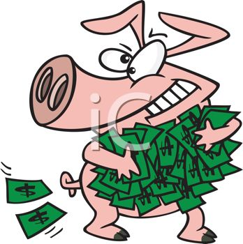 Cartoon of a Greedy Pig Holding a Wad of Cash