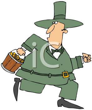 Cartoon of a Chubby Leprechaun Making Off with the Gold