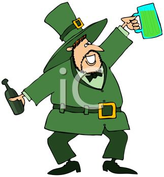 Drunk Leprechaun Holding Up His Mug of Beer