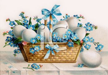 Vintage Easter Basket Filled with Forget-me-nots and Boiled Eggs