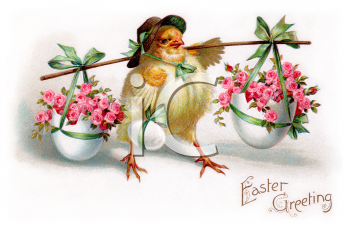 Easter Greeting of a Chick Holding Eggs Filled with Flowers