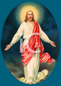 Vintage Style Jesus with a Glowing Halo