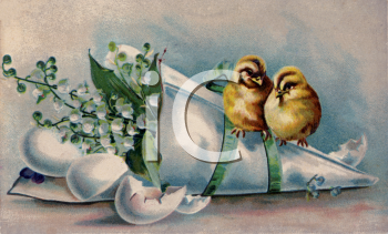 Easter Chicks Newly Hatched Sitting on a Bouquet of Flowers
